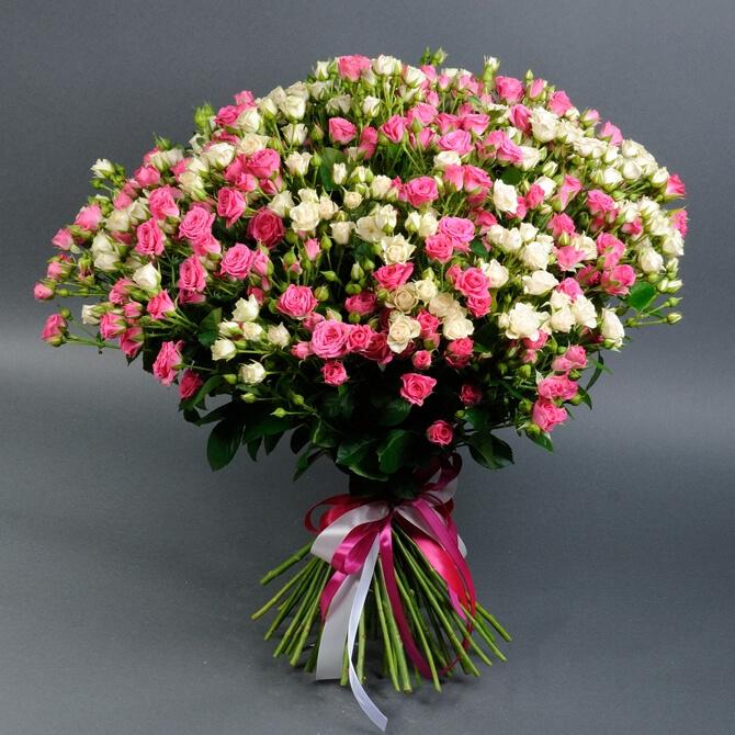 Букет из 55 роз спрей, доставка цветов, доставка букетов