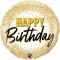 Шар Happy Birthday золотое конфети 46 см