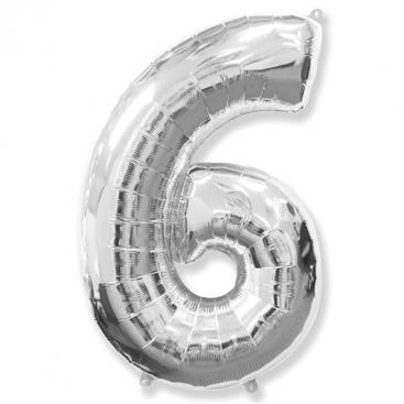 Шар серебряный Цифра 6