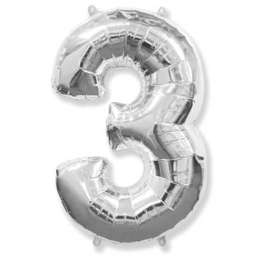 Шар серебряный Цифра 3