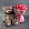 Букет из 51 розы спрей микс и плюшевый медведь