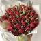 Букет пионовидных красных тюльпанов Love is ... - Фото 1