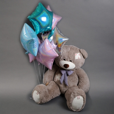 Мишка большой Капучино с шариками