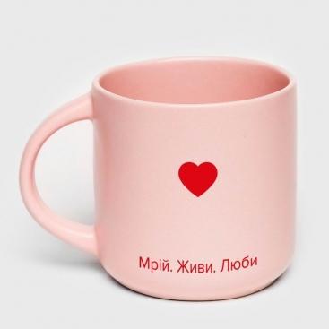 Чашка розовая Мечтай. Живи. Люби