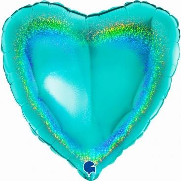 Шар Сердце голубое Тиффани 46 см