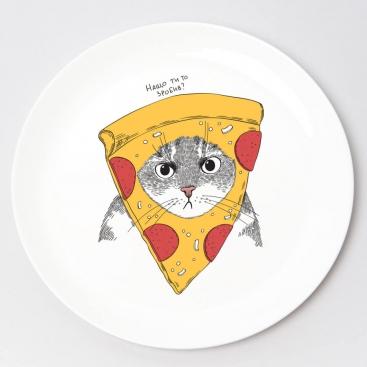 Тарелка «Кот в пицце»