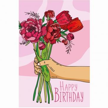 Открытка с пионами Happy Birthday