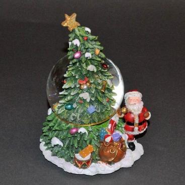 Шар музыкальный Санта у елки 20 см